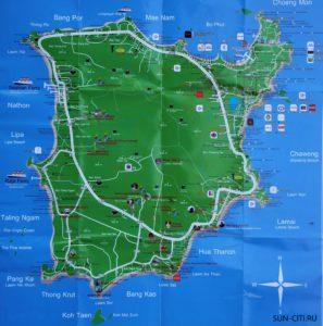 Карта Самуи - основные достопримечательности острова Самуи